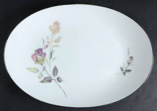 Style House Lori 12 Oval Serving Platter, Fine China Dinnerware   Pink/Green Ro