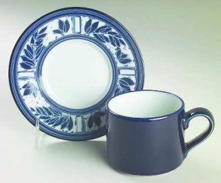 Dansk Ceylon Navy Blue (Japan) Flat Cup & Saucer Set, Fine China Dinnerware   Na