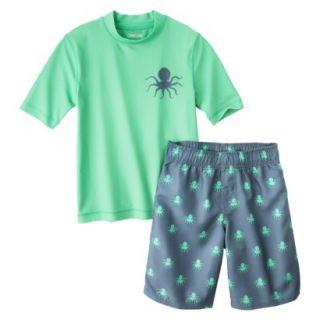 Cherokee Boys Octopus Rashguard and Swim Trunk Set   Green M