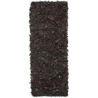 Safavieh Leather Shag Dark Brown Rug LSG421D Rug Size: Runner 23 x 6