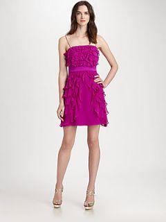 Kay Unger Tiered Silk Dress   Berry