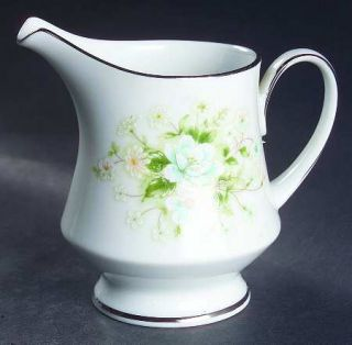 Noritake Poetry Creamer, Fine China Dinnerware   Floral Ring, Floral Center