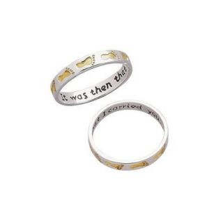 Sterling Silver Two Tone Footprints Ring  6