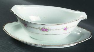Style House Princess Gravy Boat with Attached Underplate, Fine China Dinnerware