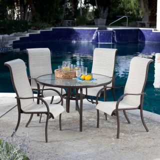Hayneedle Coral Coast Del Rey Deluxe Padded Sling Patio Dining Set   Seats 4