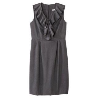 Merona Womens Twill Ruffle Neck Dress   Heather Gray   4