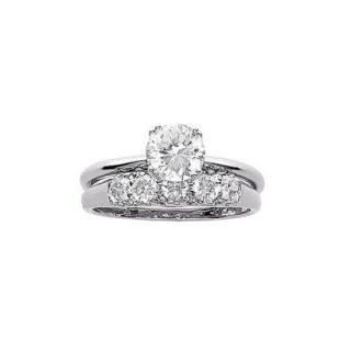 Sterling Silver Cubic Zirconia 2 Pc. Wedding Ring Set   7