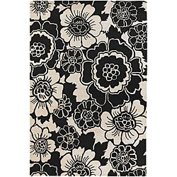 Hand tufted Contemporary Mandara Floral Rug (79 X 106) (BlackPattern FloralMeasures 0.75 inch thickTip We recommend the use of a non skid pad to keep the rug in place on smooth surfaces.All rug sizes are approximate. Due to the difference of monitor col