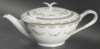 Noritake Denise Teapot & Lid, Fine China Dinnerware   Gray Scrolls, Brown Flower