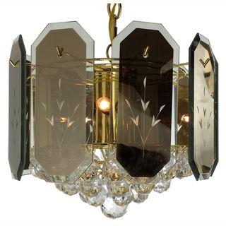 7 light Reflex Panels/ Gems Polished Brass Chandelier