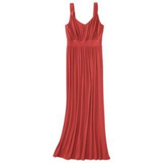 Merona Womens Knit V Neck Ruched Waist Maxi Dress   Clear Mango   S