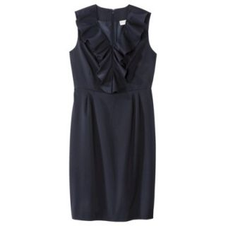 Merona Womens Twill Ruffle Neck Dress   Federal Blue   14