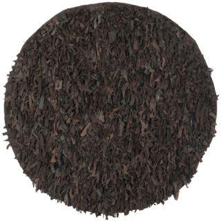 Safavieh Leather Shag Dark Brown Rug LSG421D Rug Size: Round 4