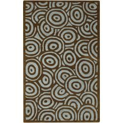 Hand tufted Contemporary Blue/brown Circles Celestial New Zealand Wool Abstract Rug (8 X 11)