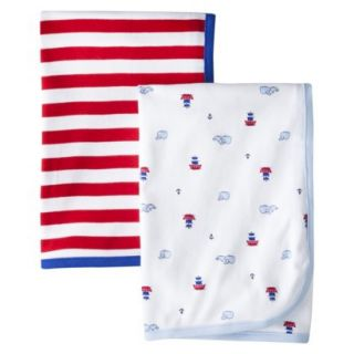 Just One YouMade by Carters Newborn Boys 2 Pack Whale Blanket   Blue/Red
