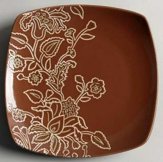 Jaclyn Smith Global Floral Square Salad Plate, Fine China Dinnerware   Cream Flo