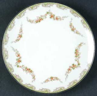 Noritake Denise Bread & Butter Plate, Fine China Dinnerware   Gray Scrolls, Brow