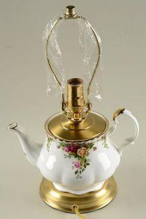 Royal Albert Old Country Roses Tea Pot Lamp, No Shade  HC, Fine China Dinnerware