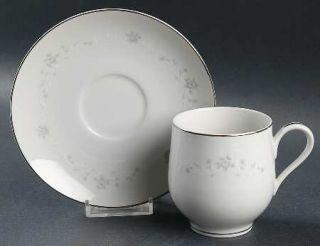 Sango Julie Flat Cup & Saucer Set, Fine China Dinnerware   Gray Roses,White Scro