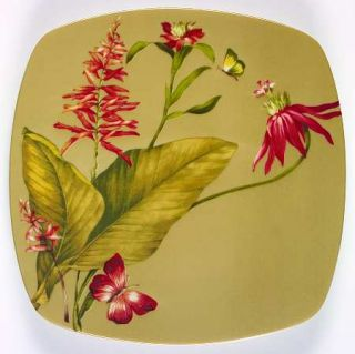 222 Fifth (PTS) Antigua Salad Plate, Fine China Dinnerware   Red Flowers & Butte