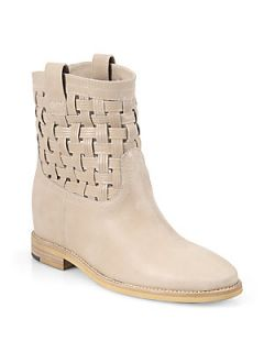 Aquatalia by Marvin K Dakota Basket Weave Leather Boots   Beige