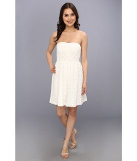 Donna Morgan Strapless Lace With Pleated Skirt Dress Womens Dress (White)
