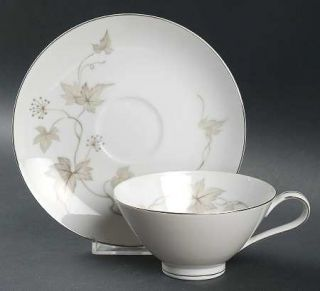 Mikasa Wanda Footed Cup & Saucer Set, Fine China Dinnerware   Tan Leaves,Gray Be