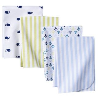 4pk Flannel Receiving Blankets   Whales n Waves by Circo