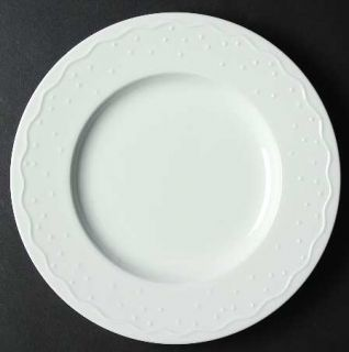 Crate & Barrel Water Music Luncheon Plate, Fine China Dinnerware   All White,Emb