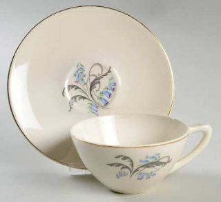 Edwin Knowles Bluebells Flat Cup & Saucer Set, Fine China Dinnerware   Bluebell