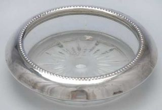 Frank Whiting 4 (Sterling, Hollowware) Crystal Coaster with Sterling Rim   Sterl