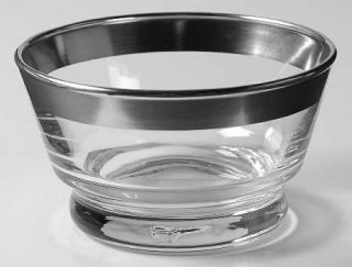Dorothy Thorpe Silver Band Low Sherbet   Wide 1 Silver Band,V Shaped Bowl