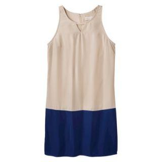 Merona Womens Colorblock Hem Shift Dress   Hamptons Beige/Waterloo Blue   S