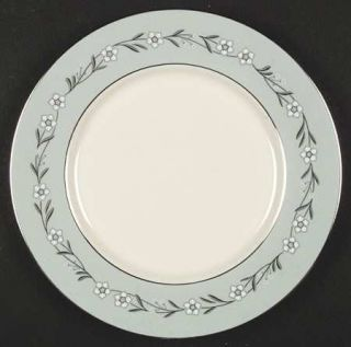 Franciscan Del Rio Dinner Plate, Fine China Dinnerware   White/Pink Flowers,Aqua