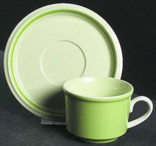 Mikasa Country Store Light Green Flat Cup & Saucer Set, Fine China Dinnerware