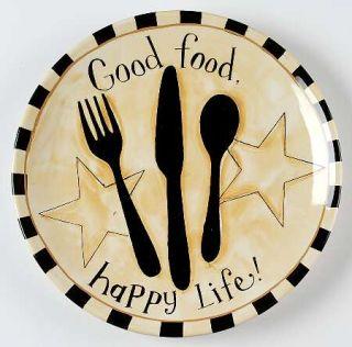 Family Table Dinner Plate, Fine China Dinnerware   Words,Utensils,Stars,Checker