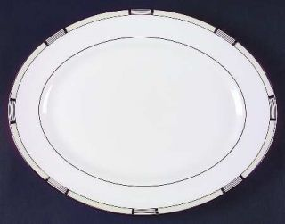 Lenox China High Society 13 Oval Serving Platter, Fine China Dinnerware   Black