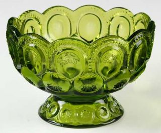 Smith Glass  Moon & Star Green 7 Inch Compote, No Lid   Dark Green