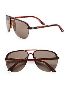 Tom Ford Eyewear Wilder Aviator Sunglasses   Red Havana