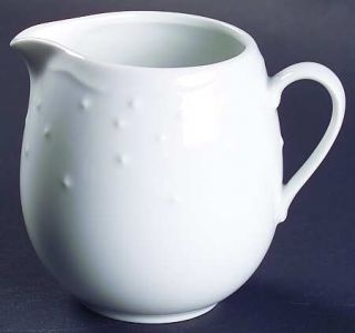 Crate & Barrel Water Music Creamer, Fine China Dinnerware   All White,Embossed S