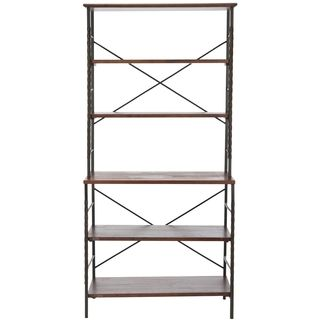 Safavieh Brooke Sienna Etagere (SiennaMaterials: Elm WoodDimensions: 77.2 inches high x 36.6 inches wide x 77.2 inches deepThis product will ship to you in 1 box.Assembly required )
