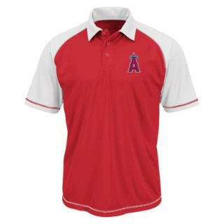 MLB Mens Los Angeles Angels Synthetic Polo T Shirt   Red/White (L)