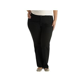 Lee Classic Twill Pants   Plus, Black, Womens