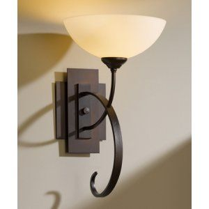 Hubbardton Forge HUB 204522 03 G16 Scrolled Taper Sconce Scroll Taper with Glass