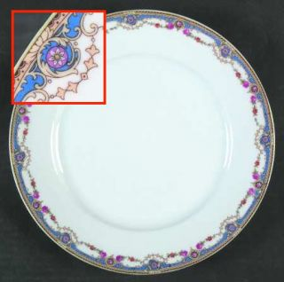 Crown China (Czech) 7143 Dinner Plate, Fine China Dinnerware   Blue Band,Scrolls