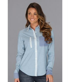 Burton Eva Woven Womens Long Sleeve Button Up (Blue)