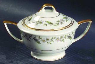 Royal Jackson Gardenia Sugar Bowl & Lid, Fine China Dinnerware   Gold Trim, Rim