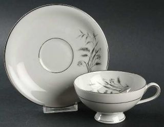 Fitzgerald & Allison Silver Harvest Footed Cup & Saucer Set, Fine China Dinnerwa