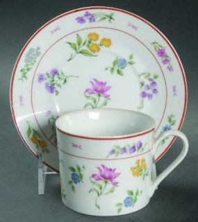 Georges Briard Floral Fantasy Flat Cup & Saucer Set, Fine China Dinnerware   Flo