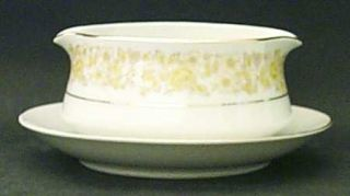 Chadds Ford Golden Rose Gravy Boat with Attached Underplate, Fine China Dinnerwa